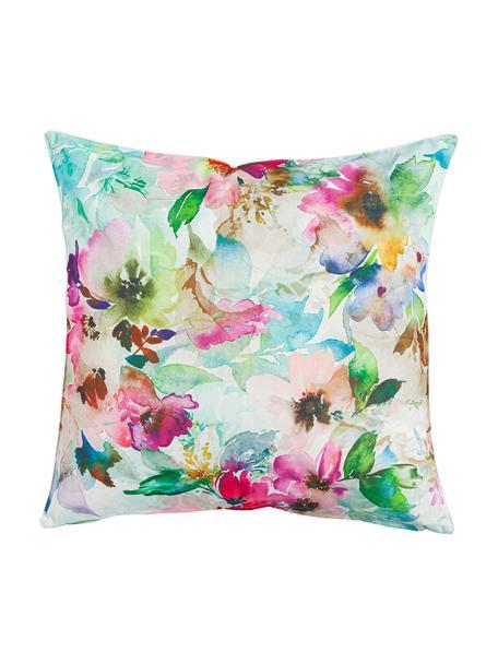 Cuscino imbottito da esterno Painted Flower, 100% poliestere, Multicolore, Larg. 45 x Lung. 45 cm