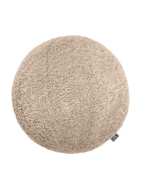 Handgemachtes Bouclé-Kissen Palla in Ballform, mit Inlett, Bezug: 100% Polyester, Sandfarben, Ø 30 cm