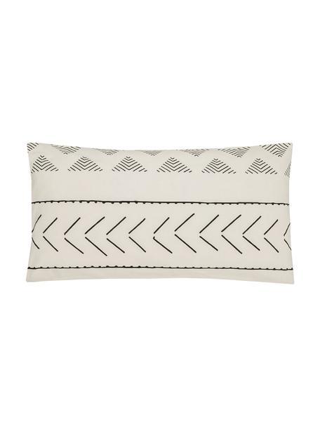 Funda de almohada de algodón Kohana, estilo boho, Crudo, negro, An 45 x L 85 cm