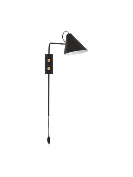 Aplique Club, con enchufe, Pantalla: hierro con pintura en pol, Cable: plástico, Negro, latón, An 20 x Al 62 cm