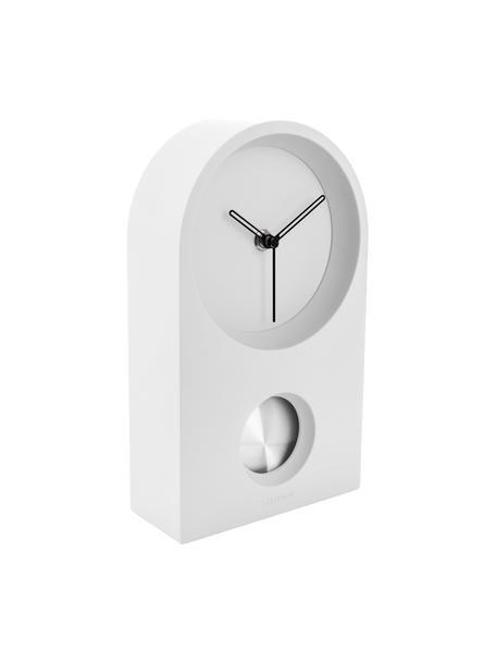 Zegar stołowy Taut, Tworzywo sztuczne (ABS), Biały, odcienie srebrnego, czarny, S 15 x W 25 cm