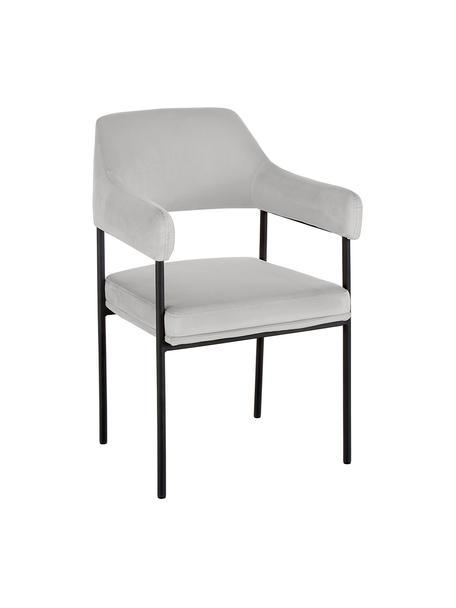 Krzesło z aksamitu z podłokietnikami Zoe, Tapicerka: aksamit (poliester) 50 00, Stelaż: metal malowany proszkowo, Aksamitny szary, S 56 x G 62 cm