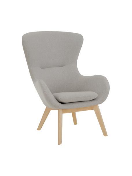 Fauteuil Wing in grijs, Bekleding: polyester, Poten: gelakt massief hout met e, Grijs, B 77 x D 89 cm