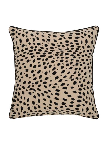 Kussenhoes Leopard met zwarte bies, 100% katoen, Beige, zwart, 45 x 45 cm