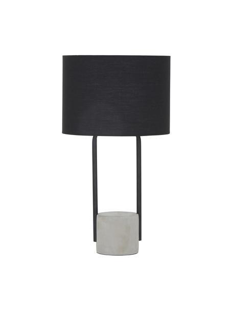 Duża lampa stołowa z betonową podstawą Pipero, Klosz: czarny Podstawa lampy: czarny, matowy, szary Kabel: czarny, Ø 28 x W 51 cm
