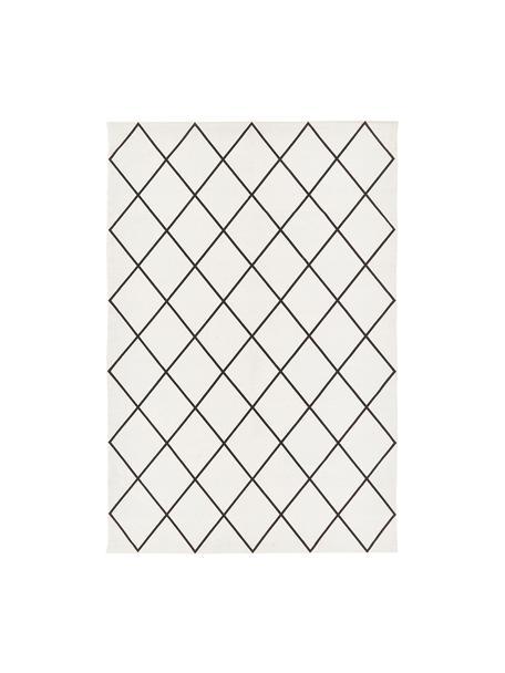 Vlak geweven katoenen vloerkleed Farah met ruitjesmotief, 100% katoen, Crèmewit, zwart, B 120 x L 180 cm (maat S)