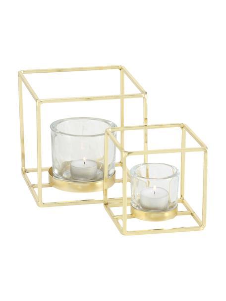 Waxinelichthoudersset Pazo, 2-delig, Windlicht: glas, Frame: gecoat metaal, Transparant, messingkleurig, Set met verschillende formaten