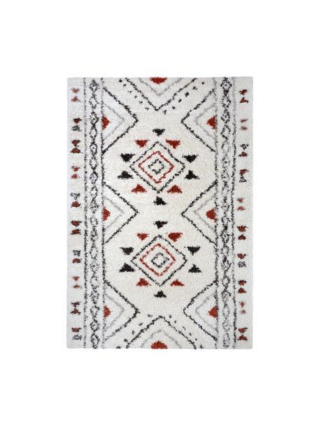 Extra weicher Hochflor-Teppich Hurley mit Ethnomuster, 100% Polypropylen, Cremefarben, Grau, Schwarz, Rostbraun, B 80 x L 150 cm (Größe XS)