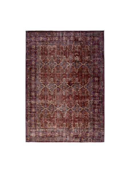 Tappeto vintage da interno-esterno Tilas Izmir, Rosso scuro, giallo senape, kaki, Larg. 200 x Lung. 290 cm (taglia L)