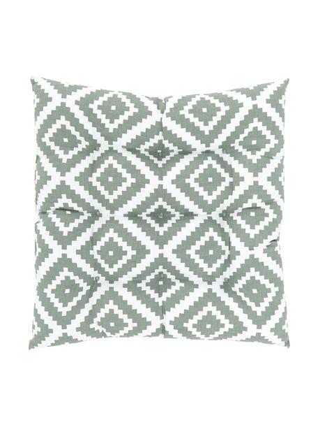 Sitzkissen Miami in Salbeigrün, Weiß, Bezug: 100% Baumwolle, Grün, 40 x 40 cm