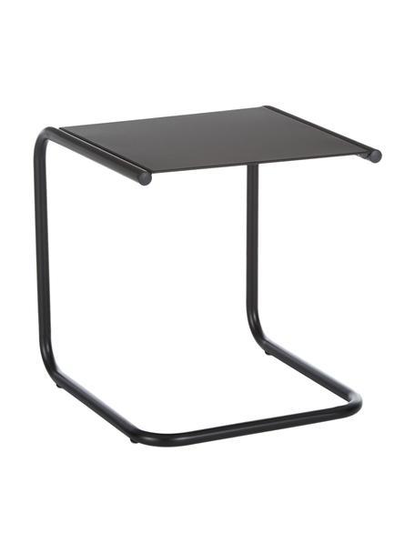 Outdoor bijzettafel Club van metaal, Tafelblad: gepoedercoat metaal, Frame: gepoedercoat aluminium, Zwart, B 40 x D 40 cm