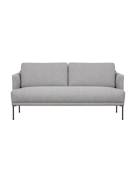 Sofa Fluente (2-Sitzer) in Hellgrau mit Metall-Füssen, Bezug: 80% Polyester, 20% Ramie , Gestell: Massives Kiefernholz, Webstoff Muster, B 166 x T 85 cm