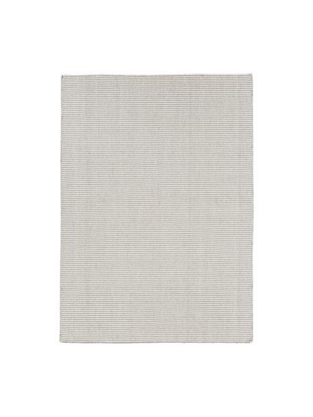 Fein gestreifter Wollteppich Ajo in Grau-Creme, handgewebt, Hellgrau, Creme, B 200 x L 300 cm (Grösse L)