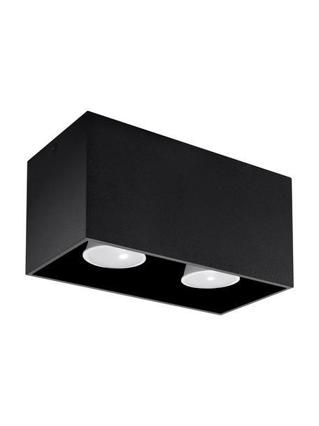 Plafondspot Geo, Aluminium, Zwart, 20 x 10 cm