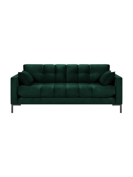 Sofa z aksamitu Mamaia (2-osobowa), Tapicerka: aksamit poliestrowy Dzięk, Stelaż: lite drewno sosnowe, skle, Nogi: metal lakierowany, Zielony, S 177 x G 92 cm