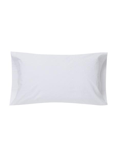 Fundas de almohada con bordado Kelly, 2uds., Algodón, Blanco, An 50 x L 85 cm