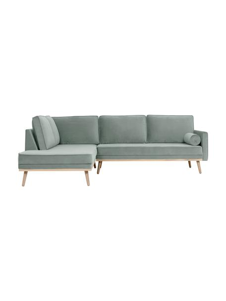 Sofa narożna z aksamitu z nogami z drewna dębowego Saint (3-osobowa), Tapicerka: aksamit (poliester) Dzięk, Aksamitny szałwiowy zielony, S 243 x G 220 cm