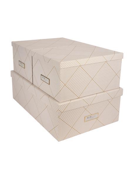 Set 3 scatole Inge, Scatola: solido cartone laminato, Dorato , bianco, Set in varie misure