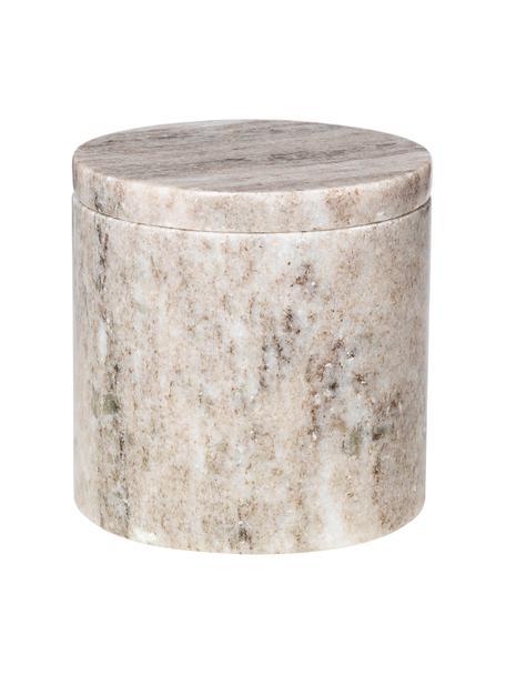 Marmeren opbergpot Osvald, Marmer, Lichtbruin, Ø 10 x H 10 cm