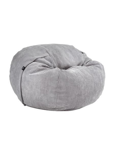 Poduszka do siedzenia ze sztruksu Velours, Tapicerka: 88%nylon, 12%poliester , Jasny szary, Ø 110 x W 70 cm