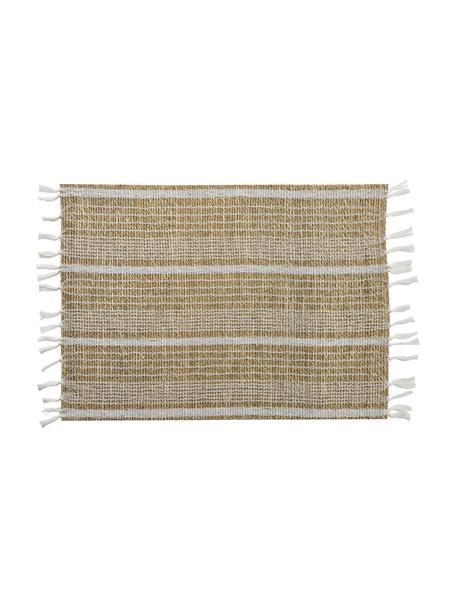 Podkładka z trawy morskiej Gausus, 4 szt., Beżowy, biały, S 33 x D 45 cm