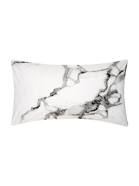 Funda de almohada de percal Malin, caras distintas, Parte superior: estampado mármol gris, Parte trasera: gris monocromática, An 45 x L 85 cm
