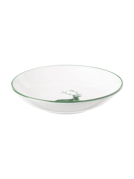 Handbemalter Suppenteller Classic Grüner Hirsch, Keramik, Weiß, Ø 20 cm