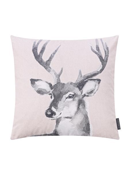 Dwustronna poszewka na poduszkę Ria, 100% bawełna, Blady różowy, odcienie szarego, S 50 x D 50 cm