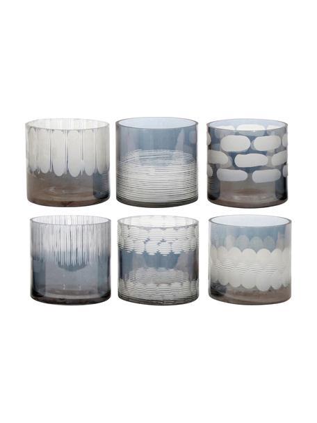 Teelichthalter-Set Cosmopol, 6-tlg., Glas, Blau, Grau, Ø 8 x H 8 cm