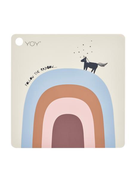 Tovaglietta con arcobaleno in silicone Rainbow, Silicone, Beige, blu, arancione, rosa, rosa cipria, nero, Larg. 38 x Lung. 38 cm