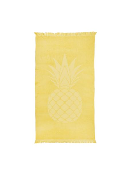 Telo mare in cotone Capri Pineapple, Giallo, Larg. 90 x Lung. 160 cm