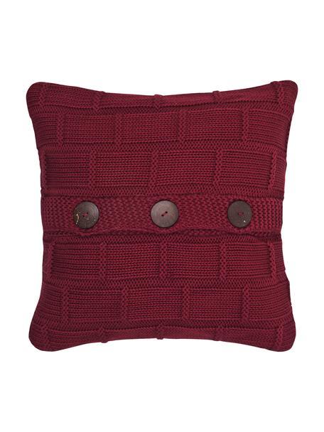 Federa arredo lavorata a maglia Clara, 100% cotone Bottoni in legno, Rosso, Larg. 40 x Lung. 40 cm
