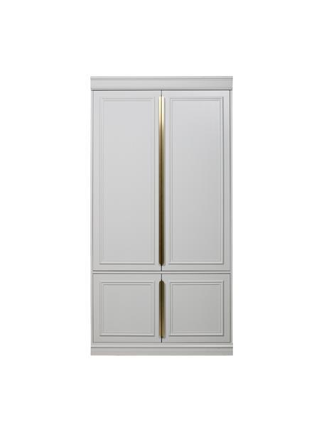 Weisser Kleiderschrank Organize, Korpus: Kiefernholz, lackiert, Griffe: Metall, beschichtet, Weiss, 110 x 215 cm