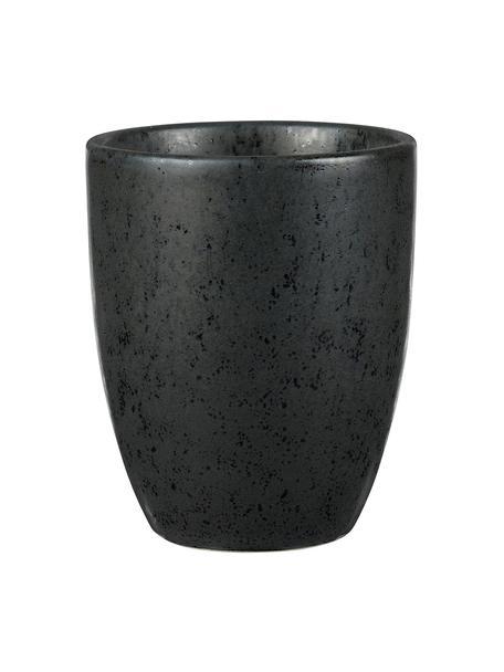 Keramische bekers Stone met Sprenkel-Glasur, 2 stuks, Geglazuurd keramiek, Zwart, Ø 8 x H 10 cm