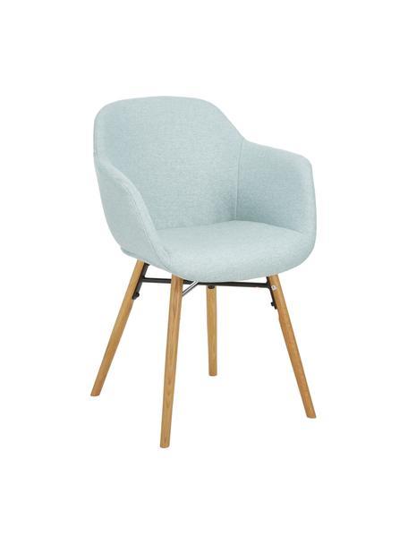 Armlehnstuhl Fiji mit Holzbeinen, Bezug: Polyester Der hochwertige, Beine: Massives Eichenholz, Webstoff Hellblau, Beine Eiche, B 59 x T 55 cm