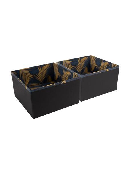 Organizer Drawer, 2Stück, Fester, laminierter Karton, Goldfarben, Graublau, 18 x 10 cm