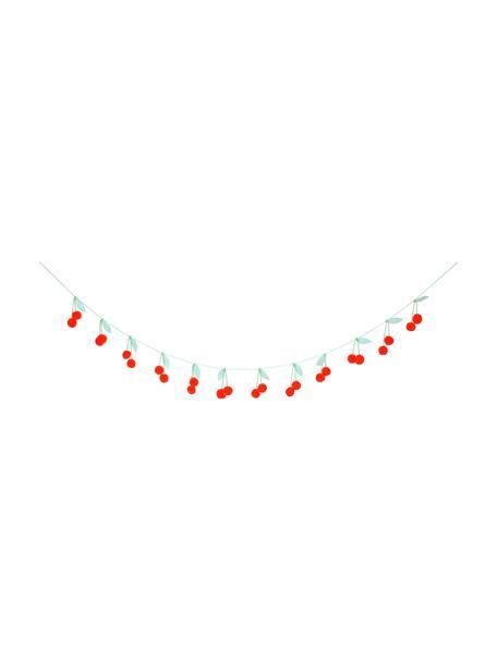 Girlande Cherry aus Bio-Baumwolle, 200 cm, 100% Biobaumwolle, Rot, Grün, L 200 cm
