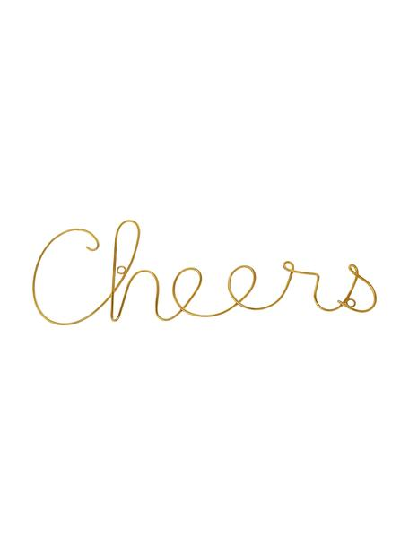 Decoración de pared Cheers, Aluminio, Dorado, An 31 x Al 13 cm