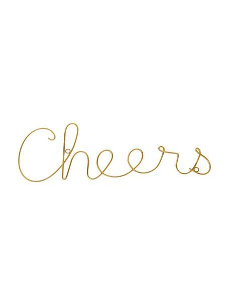 Wandobjekt Cheers aus Aluminium, Aluminium, Goldfarben, 31 x 13 cm