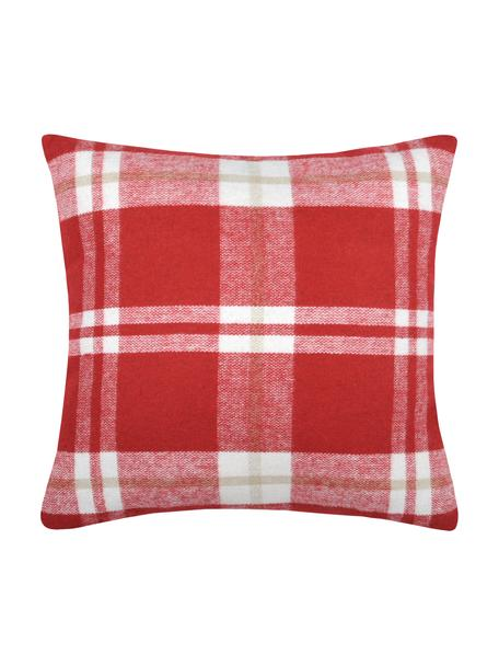 Karierte Kissenhülle Granier, 95% Polyester, 5% Wolle, Rot, Weiß, Beige, 40 x 40 cm