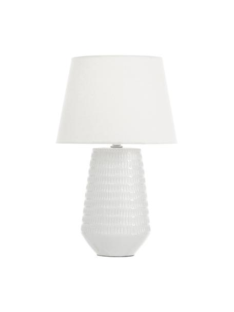 Keramik-Tischlampe Mona, Lampenschirm: Textil, Lampenfuß: Keramik, Weiß, Ø 28 x H 45 cm