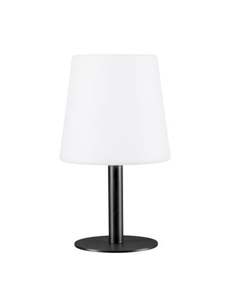 Lampada da tavolo portatile a LED da esterno Placido, Base della lampada: metallo rivestito, Paralume: plastica, Bianco, nero, Ø 16 x Alt. 26 cm