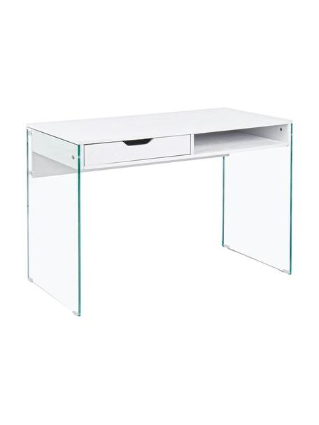 Escritorio Armos, Patas: cristal templado, Transparente, blanco, An 110 x F 55 cm