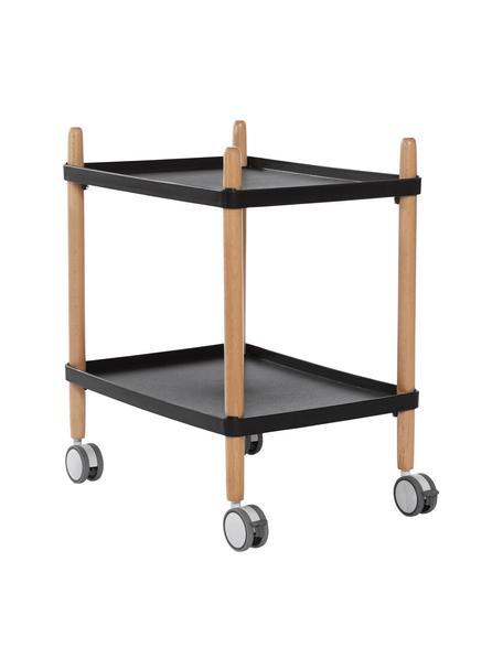 Scandi barcart Åsa, Frame: beukenhout, Zwart, beukenhoutkleurig, 50 x 60 cm