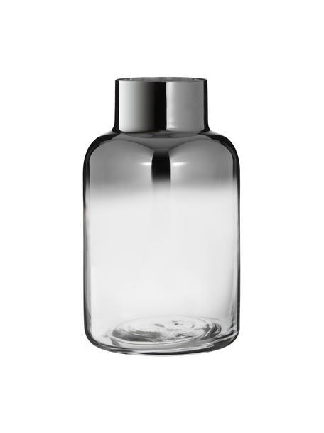 Mundgeblasene Vase Uma, Glas, Transparent,Schwarz, Ø 16 x H 27 cm
