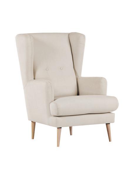 Fauteuil Robin in Scandi design, Bekleding: 90% polyester, 10% polyam, Poten: gelakt hout, Geweven stof beige, B 77 x D 85 cm