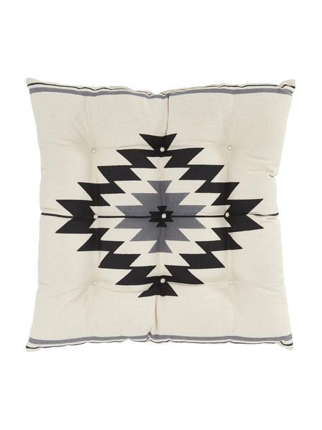 Poduszka na siedzisko Luca, Czarny, szary, biały, S 40 x D 40 cm