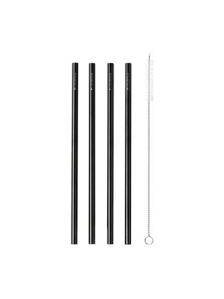 Strohhalm-Set Tawin, 5-tlg., Stahl 18/8, beschichtet, Schwarz, L 25 cm