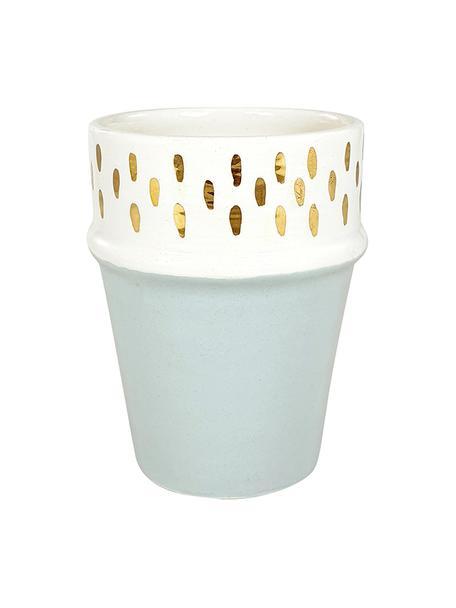 Ręcznie wykonany kubek Beldi, Ceramika, Jasny szary, odcienie kremowego, złoty, Ø 8 x W 11 cm
