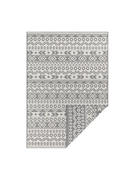 Dubbelzijdig in- en outdoor vloerkleed Baha met ethnopatroon, 100% polypropyleen, Grijs, crèmewit, B 80 x L 150 cm (maat XS)